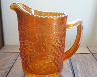 Vintage Marigold Imperial Carnival Glass Grape Pattern Pitcher