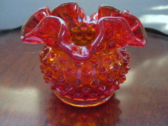 Vintage Fenton Hobnail Ruffle Edge Colonial Orange Amberina Small Vase Rose Bowl