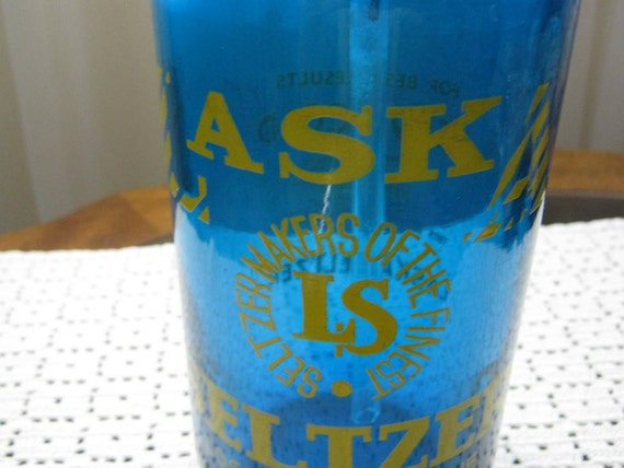 RESERVED for M :) Vintage Beautiful Blue Laska  Los  Angeles Glass Seltzer Soda Siphon Bottle Made in Czechoslovakia