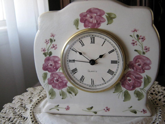 Shabby Chic Hand Painted Ceramic Boudoir Mantel Clock