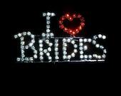 Bride Heart Motto Pin  Retro Rhinestone Prong Set Brooch