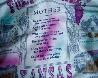 40s Mother Motto Pillow Cover Sham Fort Riley Army WW11 Army Souvenir Mom Poem