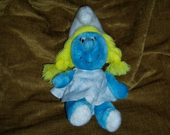 80s Smurfette Doll Girl SMURF Peyo Cartoon Wallace Berrie Plush Toy