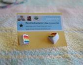 Rainbow Cake with Sprinkles Post Earrings