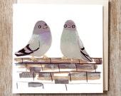 Pigeon's Birthday Card valentines wedding anniversary blank