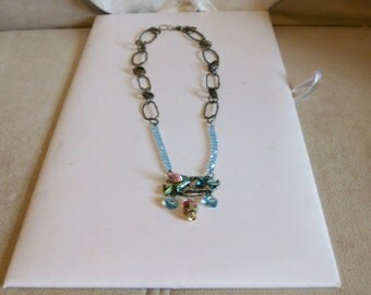 Lovely Spring Necklace Swarovski Crystals and Adorable Aqua Color Bird Pendant