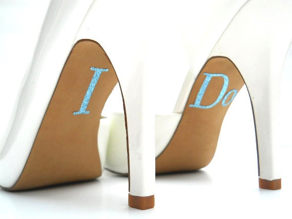 SALE 20% OFF - I Do Something Blue Gorgeous Glitter Shoe Sticker Applique -  Uppercase, Large - i do stickers