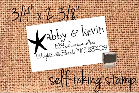 "Custom Return Address Stamp - great for save the dates and invitations, diy save the dates, diy invites -  3/4"" x 2 3/8"""