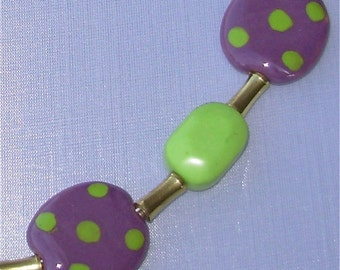 Purple, Green Kazuri Bead Necklace, Earrings