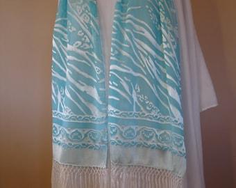 Aqua Blue Water Ocean Printed Silk Scarf with long fringe