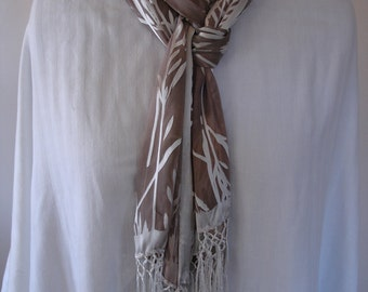 Brown and White Bamboo Silk Scarf with long fringe