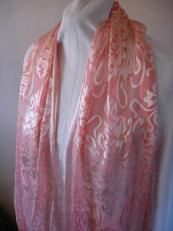 Light Pink Art Noveau Burnout Silk Scarf with long fringe