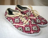 Vintage 80s Geometric Canvas Sneakers - Womens Size 7