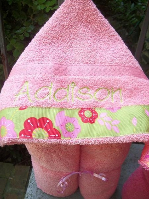 Personalized Boys or Girls Hooded Bath towel  YOUR CHOICE of color font and ribbon