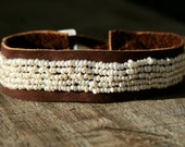Tiny White Freshwater Pearls and Leather Strap Bracelet