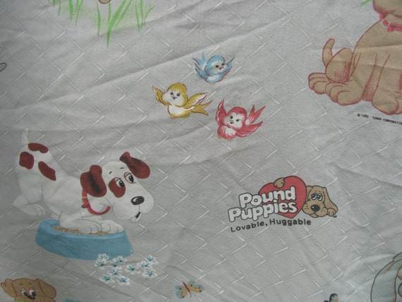 Vintage Sheet Full Bottom or Fitted Sheet Pound Puppies Loveable Huggable 1985 Sheet