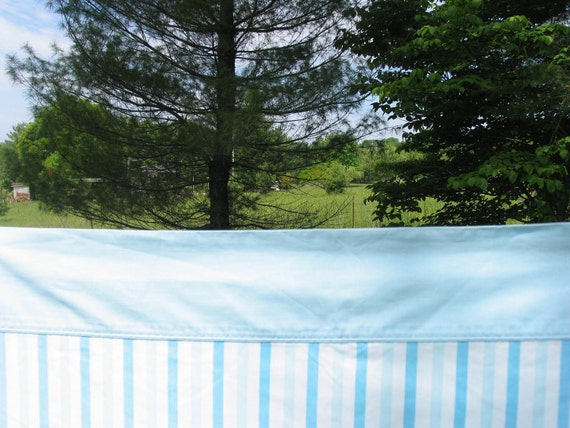 Reserved for Amanda Rice Vintage Sheet Double Flat or Top Sheet blue striped Sheet