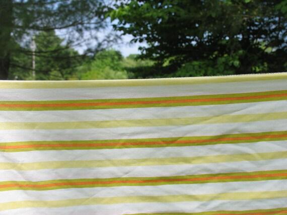 Vintage Pillowcase Standard Pillowcase Green Orange and Yellow Stripes Striped Pillowcase