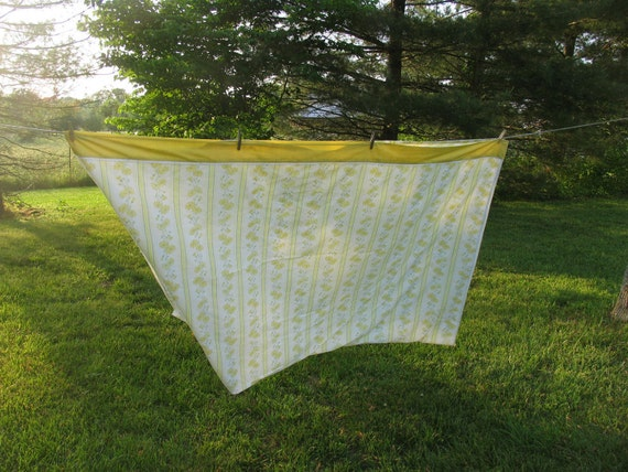 Vintage Sheet Double Flat or Top Sheet Yellow and Green Striped Yellow Flowers Floral Sheet