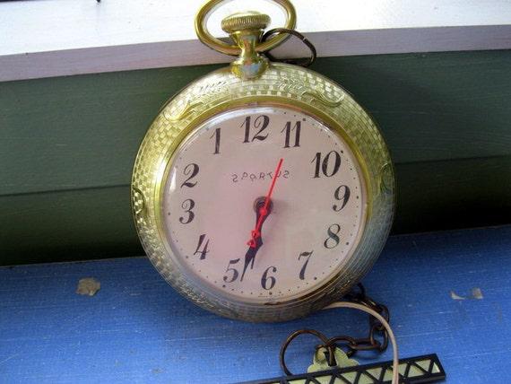 Vintage Spartus Wall Clock Pocket Watch That Runs Backwards