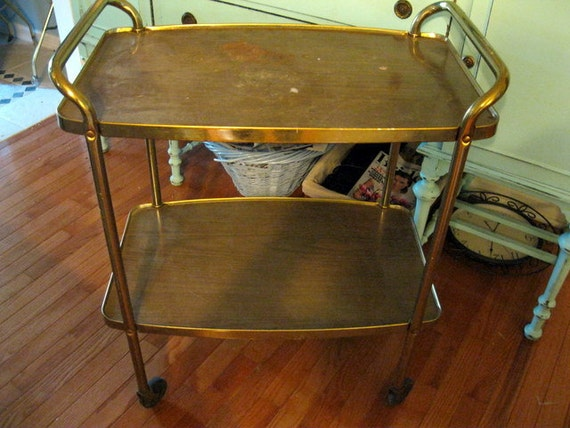 Vintage rolling kitchen tray or bar cart Wood grain look on Casters two tier