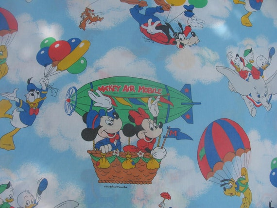 Vintage Sheet Twin Flat or Top Sheet with Matching Standard Pillowcase Mickey Mouse and Friends Mickey Air Mobile