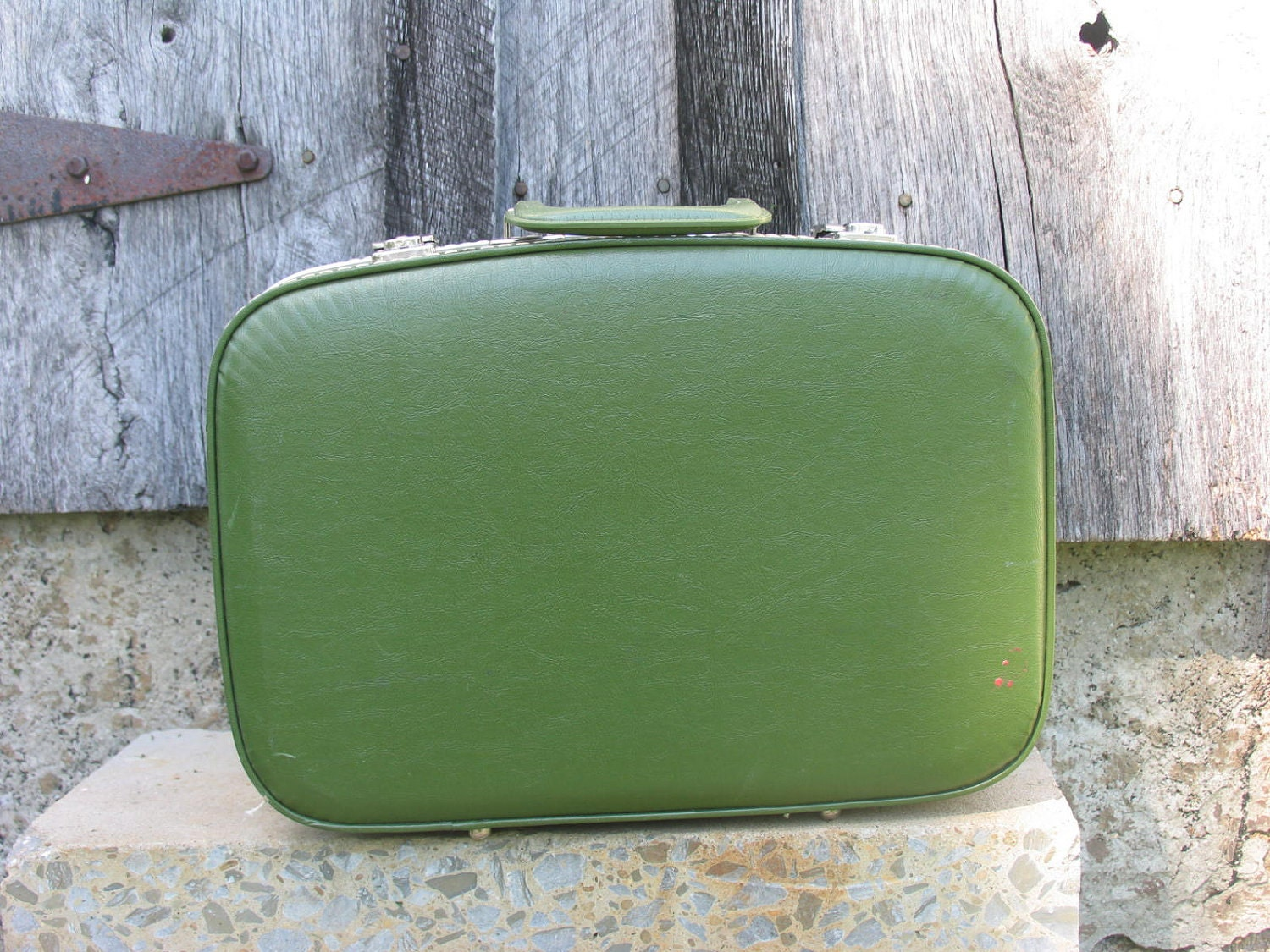 Vintage Suitcase Small Hardsided Luggage Green Suitcase