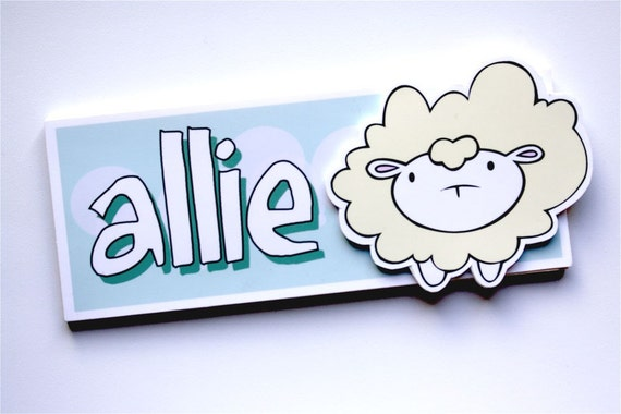 Customized name sign with Bea the sheep