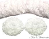 12 x 3D Chiffon Flower Appliques - 6x6cm - BULK - off white