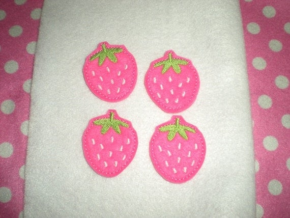 Ready to Ship) Machine Embroidered Hand made (4) Felt Strawberry Embellishments / appliques