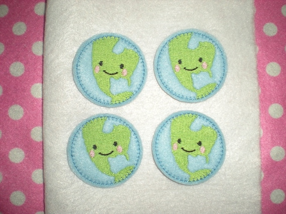 Ready to Ship) Machine Embroidered Hand made (4) Felt Earth Embellishments / appliques