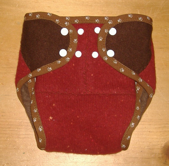 CYA upcycled cashmere wool wrap diaper cover red & brown - fits 25-40 lbs.