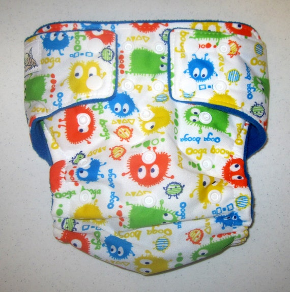 CYA print pocket diaper - koi Oogas with blue  - One Size