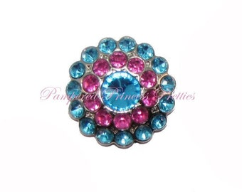 Set of 5-Turquoise/Hot Pink-Multi Colored Rhinestone Button-23mm