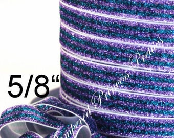 """5yd-Glitter Elastic-Lavender/Turquoise Striped-5/8"""""""