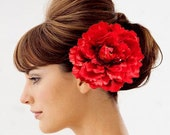 Beautiful Red Silk Peony Hair Clip, Brooch - 6 inches