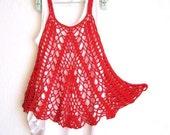 Red Cotton Breezy Crochet Summer Tank, Top, Dress - Ready to Ship