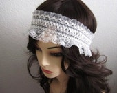 White Lace Stretchy Headband - Size from Newborn - Adults
