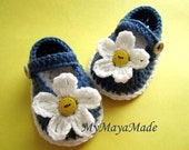 White Daisy Crochet Cotton Baby Booties - 4 Sizes - 0-3mos, 3-6mos, 6-9mos, 9-12mos - Ready to Ship