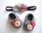 Flowery Beaded Gray Wool Crochet Baby Booties & Headband Set - 4 Sizes - Ready to Ship