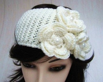 Pearl Roses Headband / warmer
