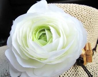 White Silk Rose Hair Clip, Brooch - 3.5'' - Ready to Ship