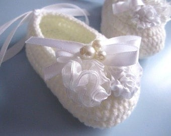 White Flowery Beaded Crochet Baby Booties - 4 Sizes