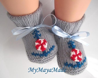 Anchor Gray Wool Baby Booties, Socks - Size from 0-12mos