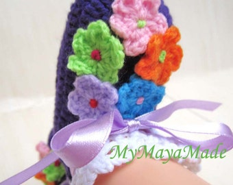 Spring In Bloom Baby Booties - 9-12 mos - Ready to Ship