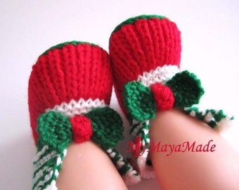 Green Bow Baby Booties -  Sizes from 0-12 mos - Ready to Ship