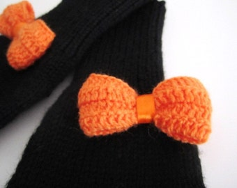 Black Wool Bow Fingerless Gloves - 2 Choices - Ready to Ship