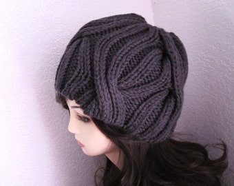 Clearance/ Half Price / Dark Grey Wool Cabled Knitted Hat - Ready to Ship