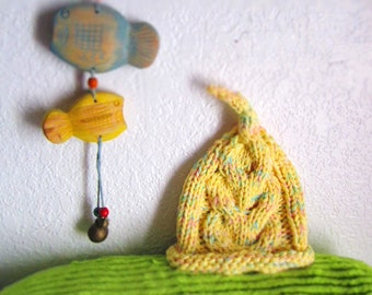 Yellow Cotton Cabled Newborn Baby Hat - Ready to Ship