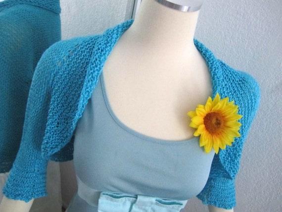 Sunflower Shiny Blue Shrug -  Ready to Ship